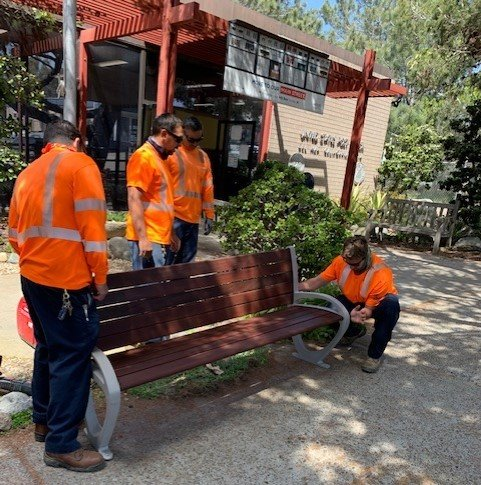 bench reinstallation at post office