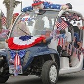Car decked out for Fourth of July parade