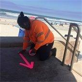 public works marking sidewalk