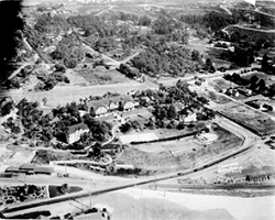 Aerial black and white photo of early Del Mar