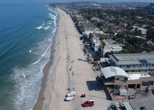 Photo of Del Mar Beach from overhead/drone.