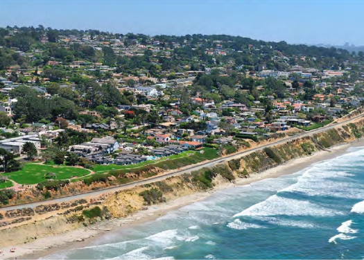 aerial view of train tracks on Del Mar bluffs