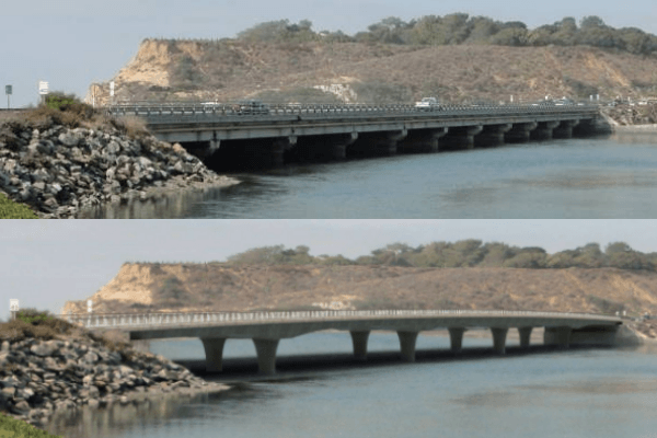 existing CDM bridge and rendering of replacement