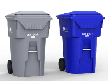 Grey Trash Can and Blue Trash Can