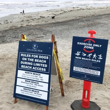 Reopened beach signs