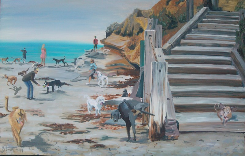 Dog Beach Steps painting by Laura Frances Bushman Crawford &#34LaFran&#34